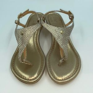 Cambiami Champagne Wedge Thong Sandals